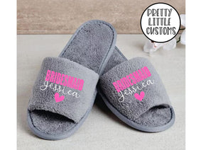Grey Personalised bridal party glitter print slippers - Bridesmaid - style 2