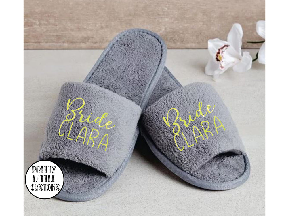 Grey Personalised bridal party glitter print slippers - Bride