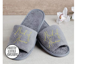 Grey Bridal party heart print slippers - Maid of Honour