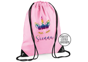 Personalised kids name gym bag/PE bag/school bag - rainbow unicorn