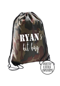 Personalised kids name kit bag print gym bag/PE bag/school bag - camo