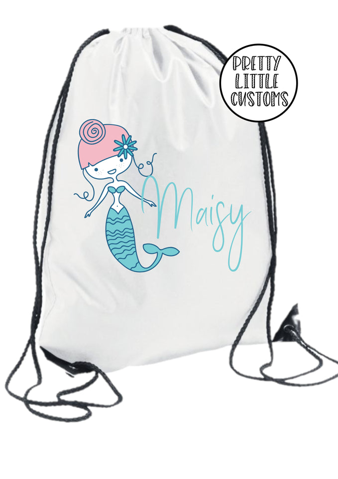 Personalised kids name gym bag/PE bag/school bag - mermaid style 1