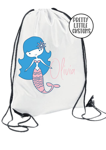 Personalised kids name gym bag/PE bag/school bag - mermaid style 2