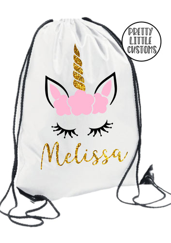 Personalised kids name gym bag/PE bag/school bag - glitter unicorn