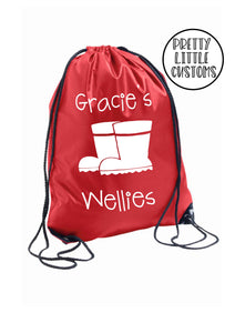 Personalised kids name wellies print gym bag/PE bag/school bag