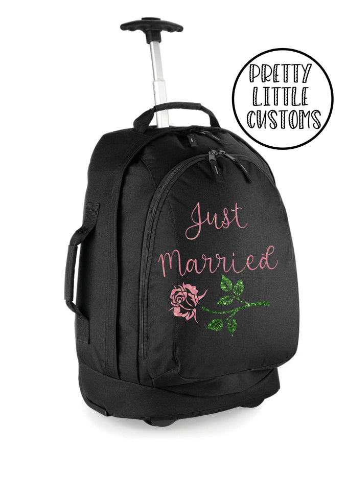 Personalised honeymoon travel bag /cabin luggage size suitcase - glitter Just Married rose design