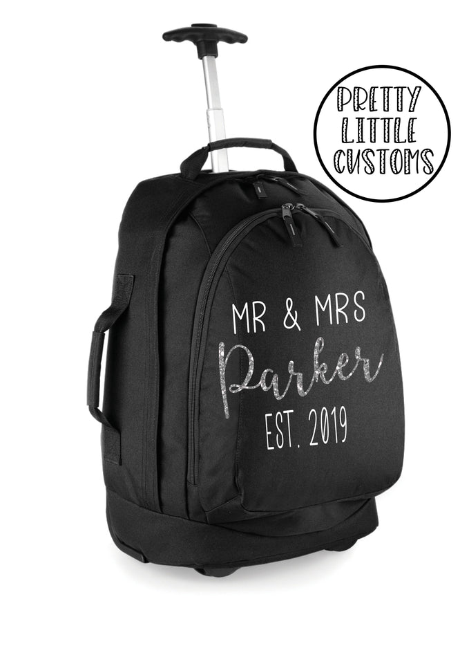 Personalised honeymoon travel bag /cabin luggage size suitcase - glitter Mr & Mrs (your surname) Est. (year) design