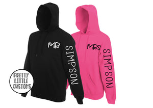Personalised Mr & Mrs (your surname) print hoody couple set - sleeve print