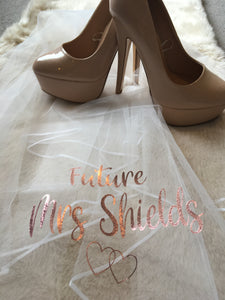 Personalised Future Mrs (Your Name) hen party veil - rose gold/gold/black