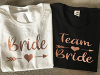 Bride / Team Bride rose gold print hen party t-shirt