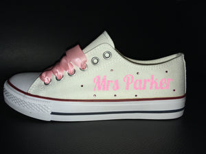 Pale Pink Ribbon Laces For Canvas Trainers