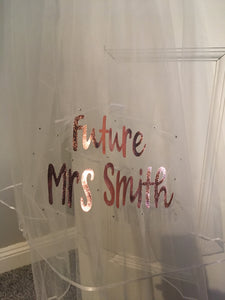 Personalised Future Mrs (Your Name) hen party veil - rose gold with rhinestones