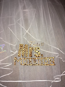 Personalised Future Mrs (Your Name) hen party veil - leopard print