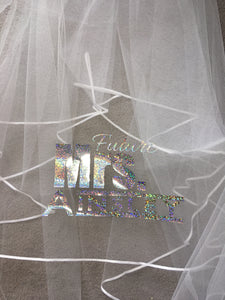 Personalised Future Mrs (Your Name) hen party veil - sparkle print
