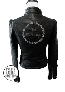 Personalised ladies glitter print faux leather wedding jacket (your name ) - black