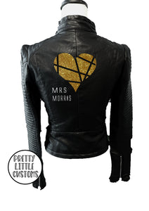 Personalised ladies glitter print faux leather wedding jacket (your name ) - geometric heart design