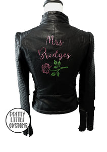 Personalised Mrs (Your Name) rose glitter print ladies faux leather wedding jacket