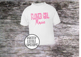 Personalised Flower Girl print kids name t-shirt