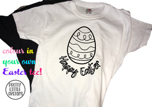 Happy Easter colour in egg design kids t-shirt