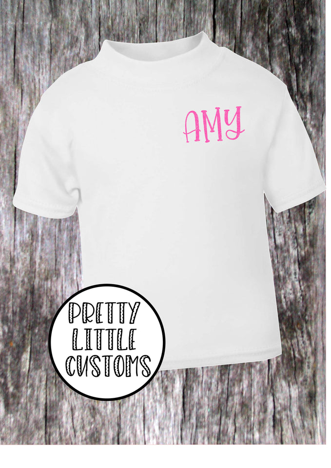 Personalised Kids GLITTER name t-shirt