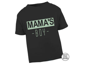 Mama's Boy print kids t-shirt - black/mint