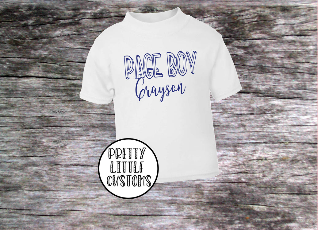 Personalised Page Boy print kids name t-shirt