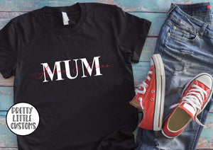 Personalised Mum print t-shirt with kids names