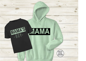 Mama & Mama's Boy hoody & tee set - black/mint