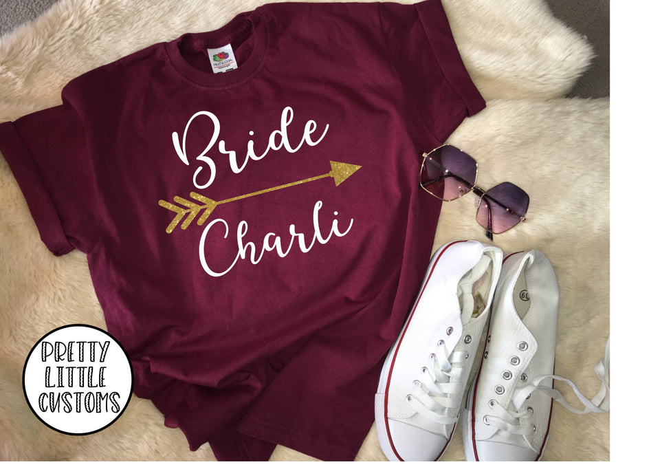 Personalised Bride glitter print hen t-shirt
