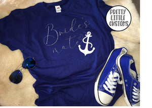 Nautical anchor Bride's mate glitter print hen t-shirt