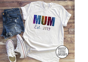 Personalised Mum Est. (your year) rainbow print t-shirt - white