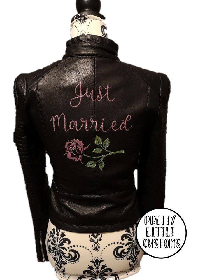 Just Married rose glitter print ladies faux leather wedding jacket