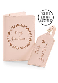 Personalised Mrs (your name) honeymoon luggage set - luggage tag & passport holder - pink