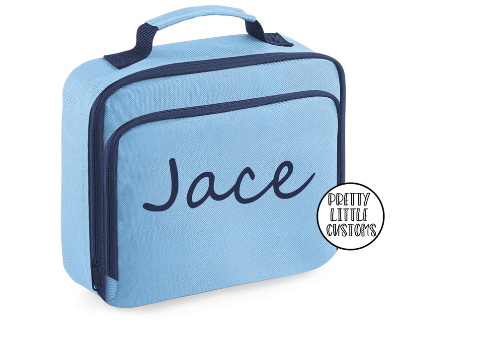 Personalised kids name lunch bag - pale blue