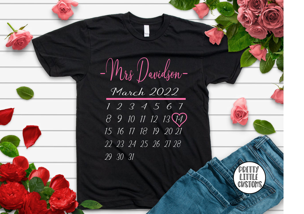 Personalised Mrs (Your Name & wedding date) calendar print tee - black