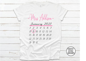 Personalised Mrs (Your Name & wedding date) calendar print tee - white