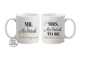 Mr & Still Mrs (your name) to be #lockdownbride #lockdowngroom commemorative print mug set