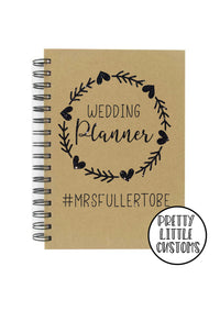 Personalised glitter print wedding planner a5 notebook - mrs (your surname) to be