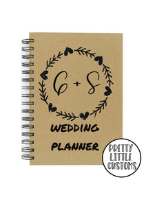 Personalised glitter print wedding planner a5 notebook - your initials