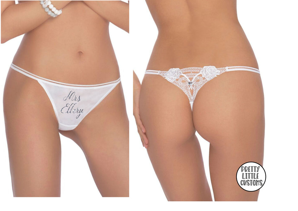 Personalised glitter Mrs (your name)  bridal underwear - diamante lace back thong