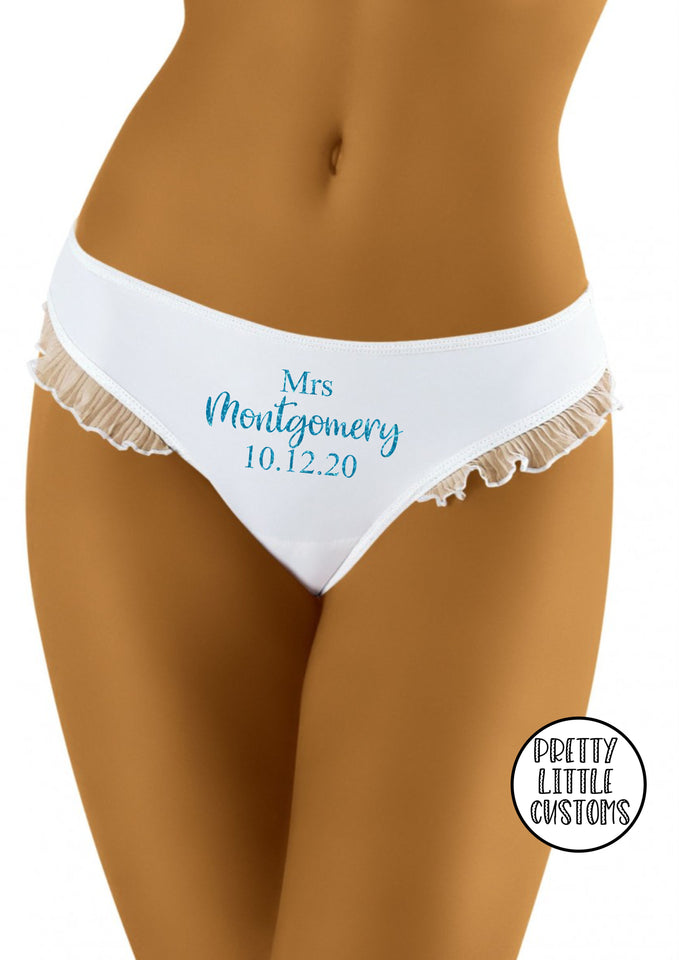 Personalised glitter Mrs (your name & date)  bridal underwear - frill, briefs