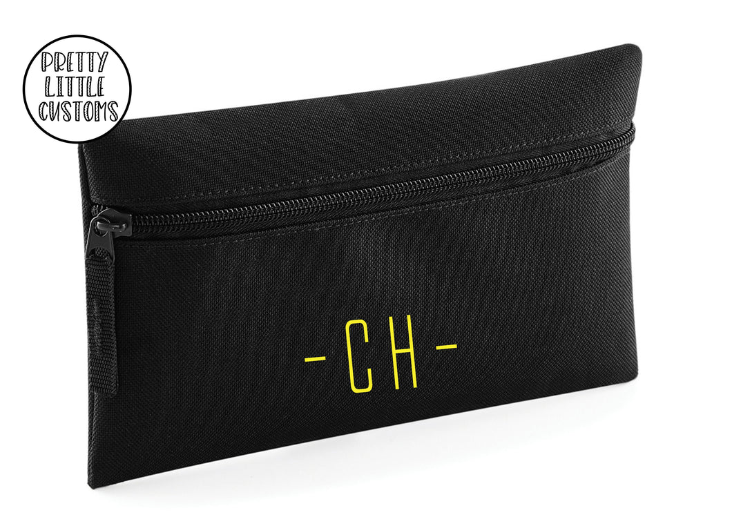 Personalised initials pencil case - black