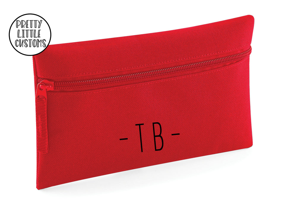 Personalised initials pencil case - red
