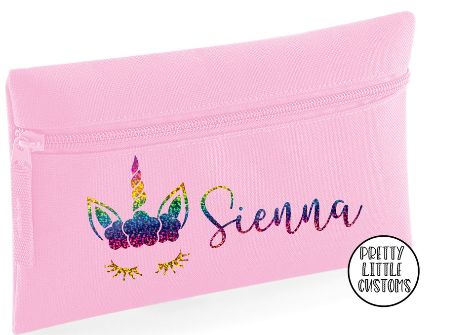 Personalised rainbow unicorn pencil case - your name