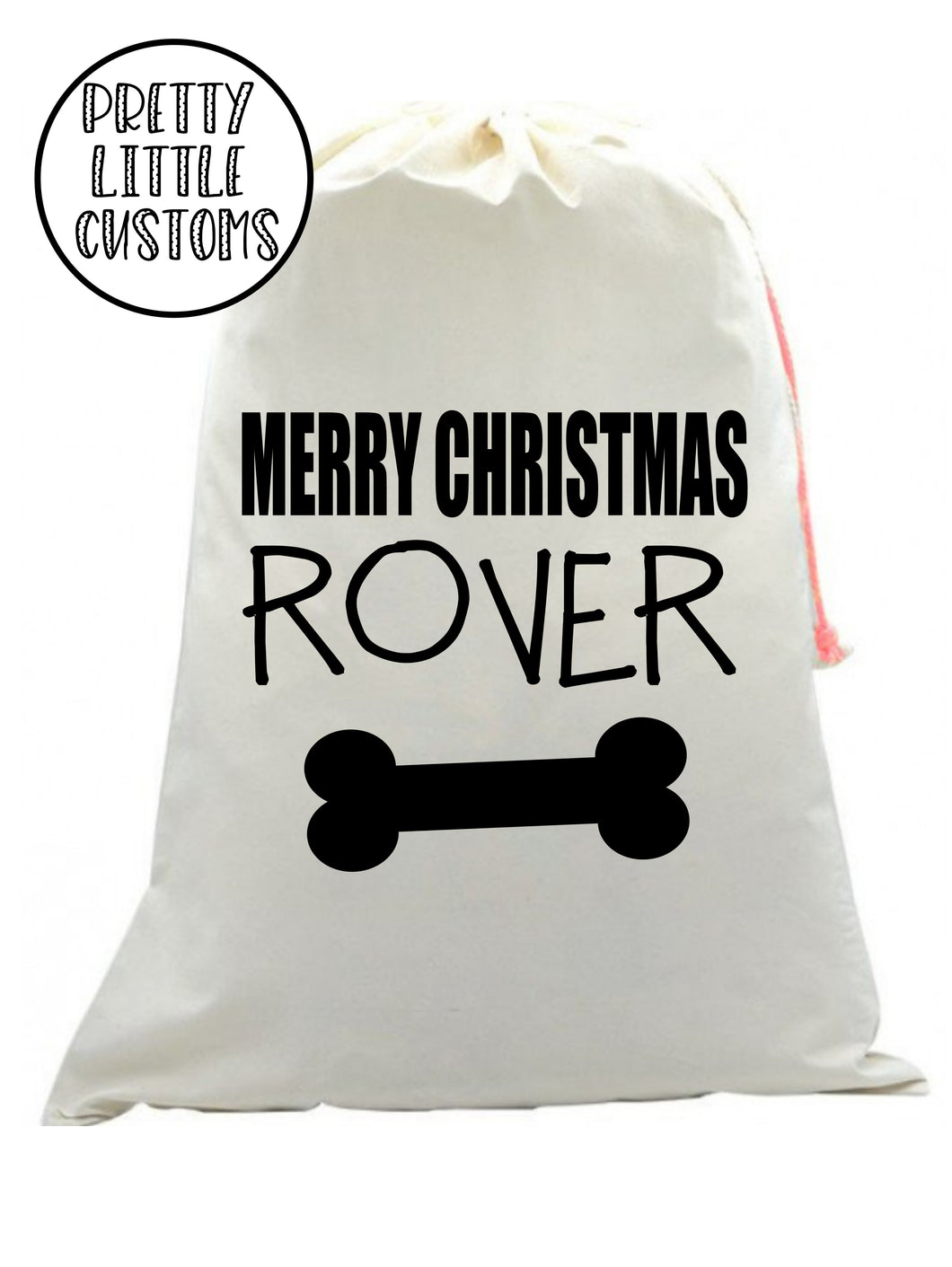 Personalised Pet Christmas Santa Sack -  (your name) -bone print - dog