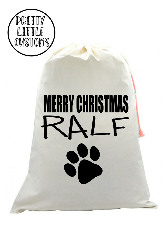 Personalised Pet Christmas Santa Sack -  (your name) -Paw print - dog