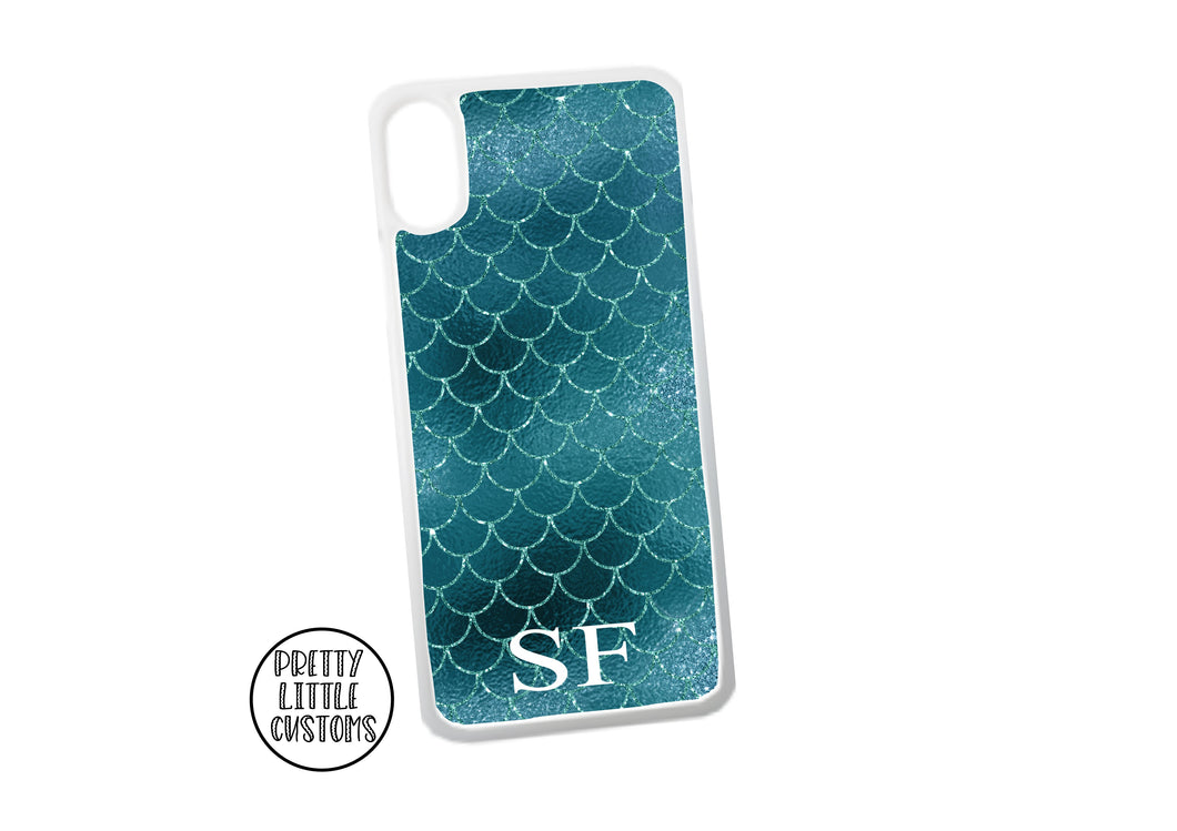 Personalised initials Phone Cover -  mermaid scales
