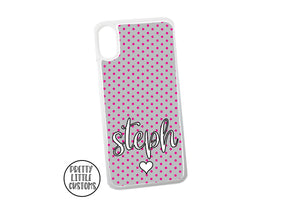 Personalised, your name - pink/grey polka dot design phone cover