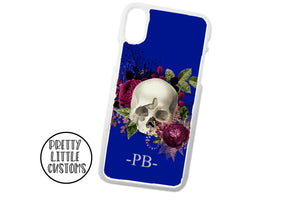 Personalised initials floral skull Phone Cover - blue