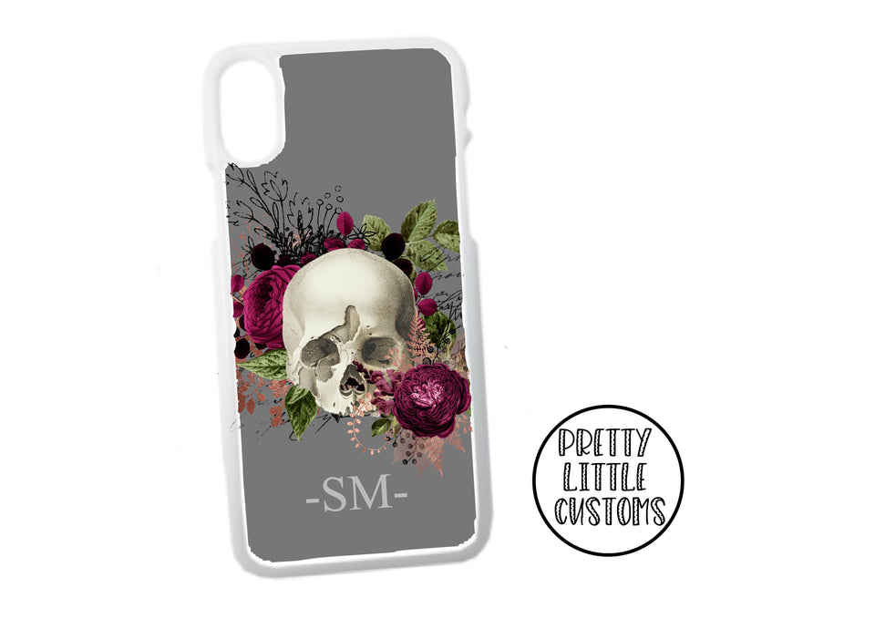 Personalised initials floral skull Phone Cover - grey